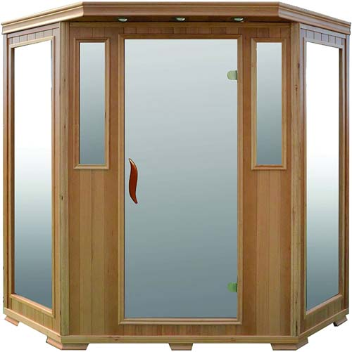 Good Health Saunas 3 Person Signature Corner Hemlock Wood Far Infrared Sauna
